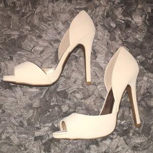 Qupid Cream Heels. 4 inch heels